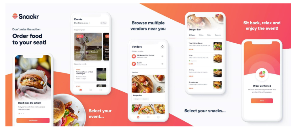 Snackr is a food and beverage ordering app which has been created so spectators can remain in their seat while items come direct to them.