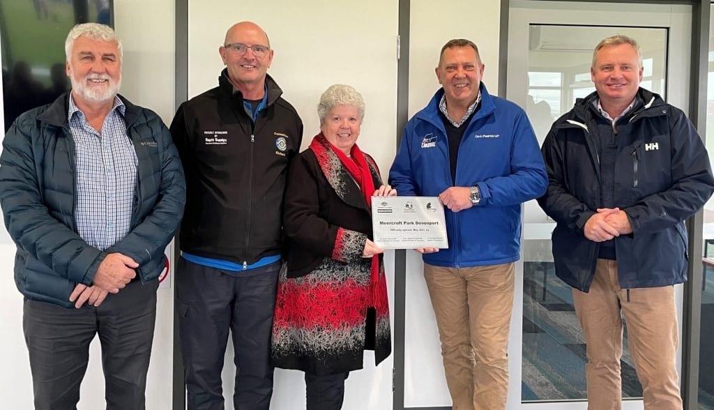 Devonport's new Meercroft Park Facility has been officially opened by Federal Member for Braddon Gavin Pearce MP, Deputy Premier of Tasmania the Hon. Jeremy Rockliff MP and Mayor of Devonport, Annette Rockliff.