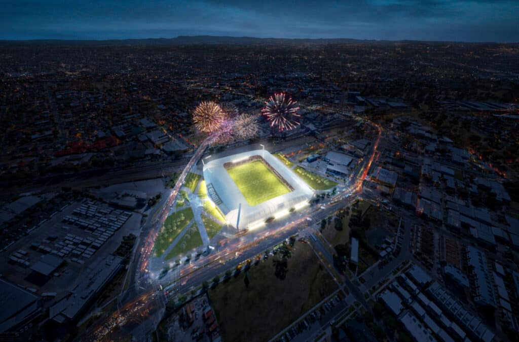 The Victorian government has announced $100,000 in funding for a feasibility review for a proposed 15,000 seat boutique Dandenong stadium.
